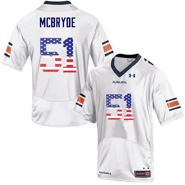 Men #51 Richard McBryde Auburn Tigers USA Flag Fashion College Football Jerseys-White